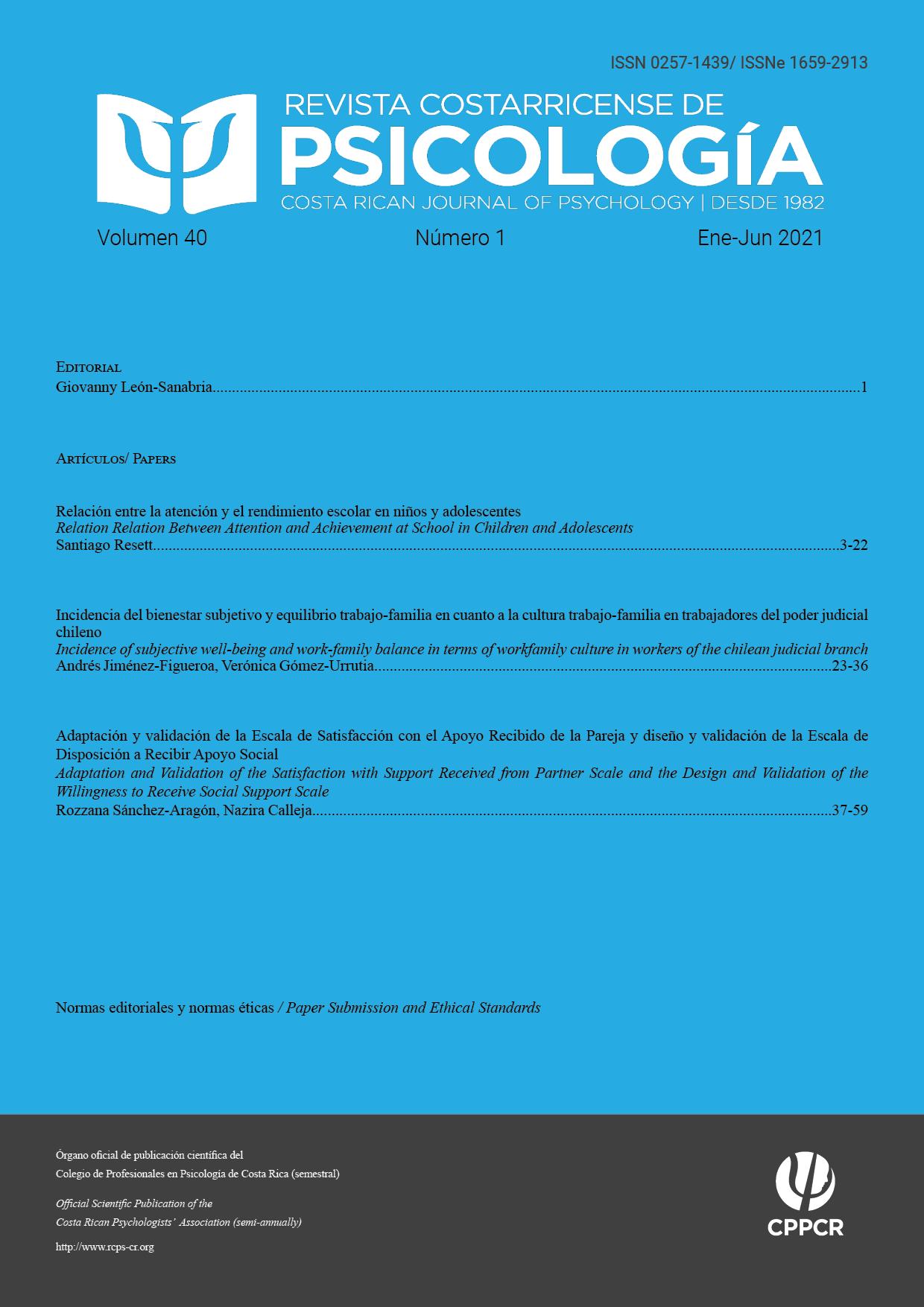 Ver Vol. 40 Núm. 1 (2021): Revista Costarricense de Psicología (Enero-Junio 2021)